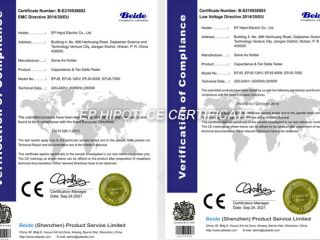 Congratulations to EP Hipot for successfully passing the CE certification